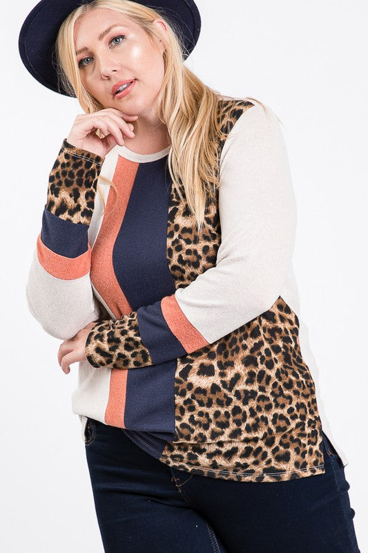 Color Block and Animal Print Combination Top
