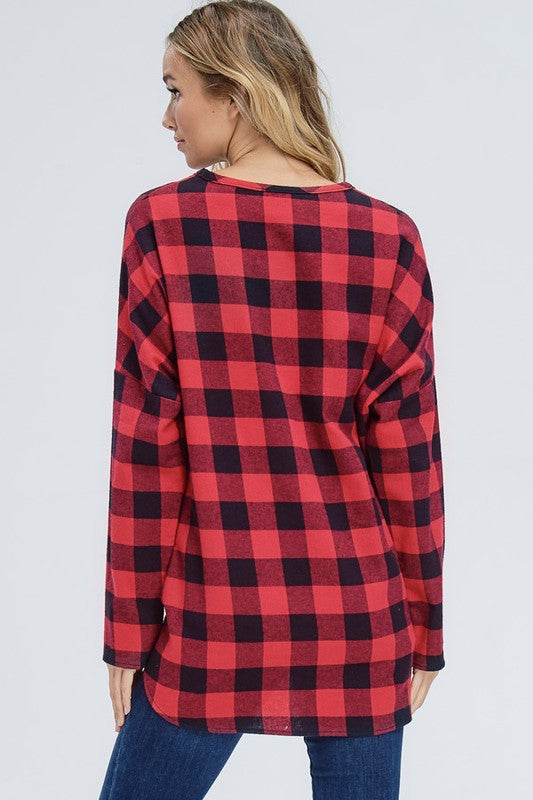 Red Plaid Blast Top