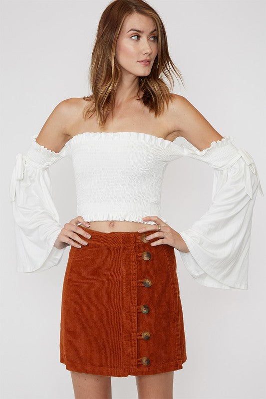 Rust Button Up Skirt