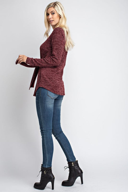 LONG SLEEVE TIE FRONT DETAIL TOP