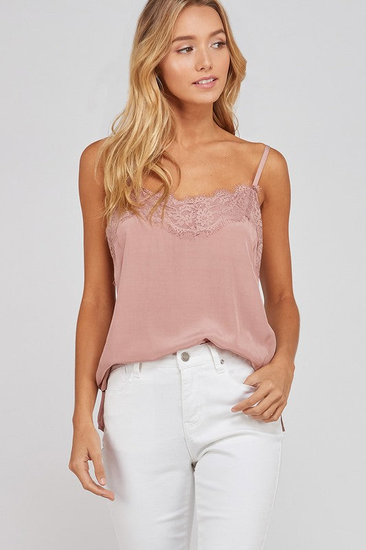 SPAGHETTI STRAP LACE DETAILED CAMISOLE