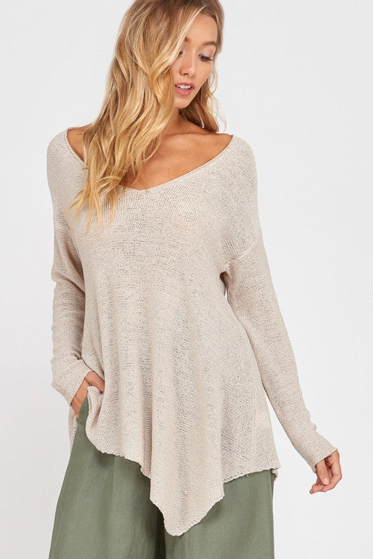 Tan Long Sleeve Asymmetrical Sweater