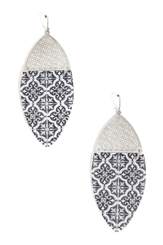 Patterened Feather Leather Earrings