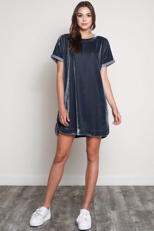 SHORT SLEEVE VELVET  DRESS