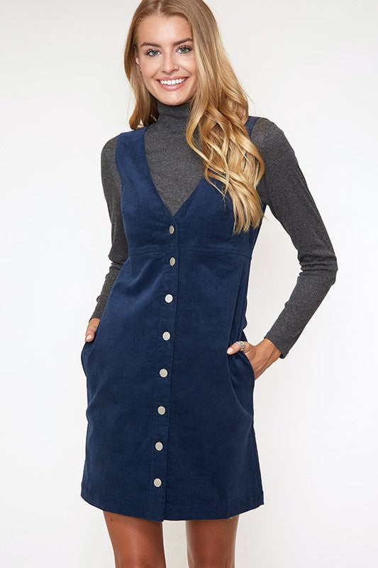 Button-Down Mini Dress In Blue