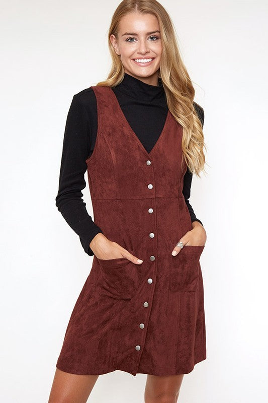 BUTTON DOWN SUEDE MINI DRESS