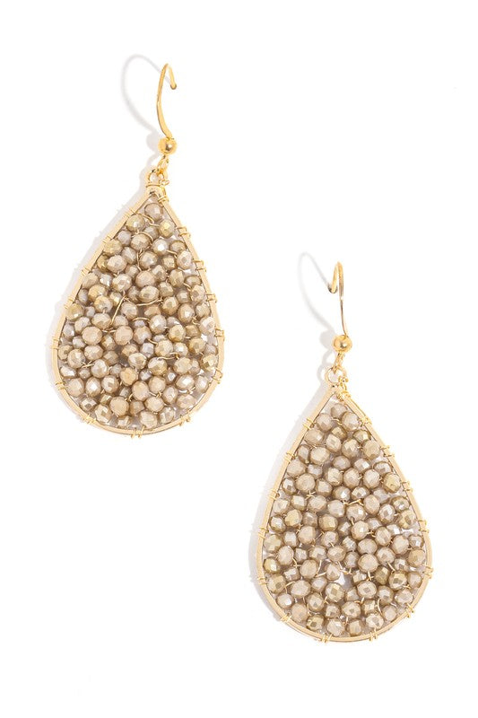 Beaded Tear Drop Earrings Gold