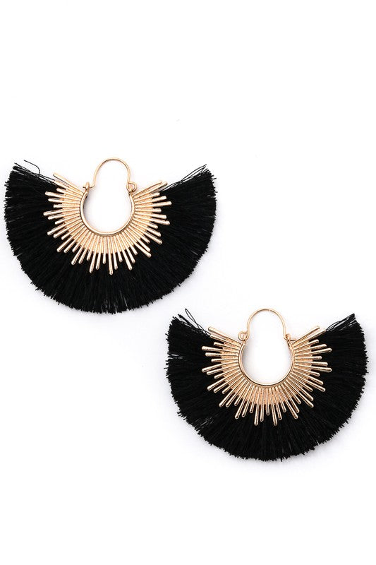 Half Circle Hoop Fringe Earrings