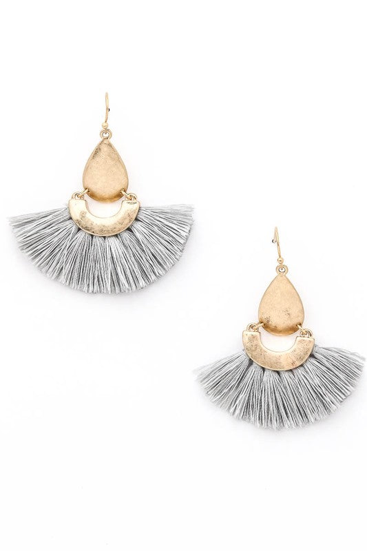 Grey Fringed Tear Drop Earrings