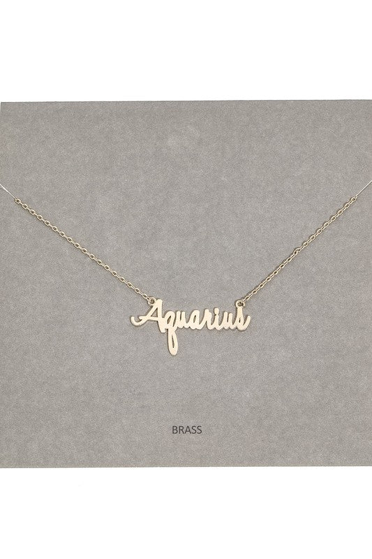 Zodiac Dainty Text Signs Pendant Necklace