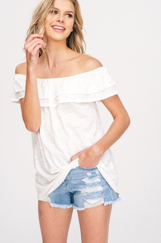 Off The Shoulder Pearl Detailed Top