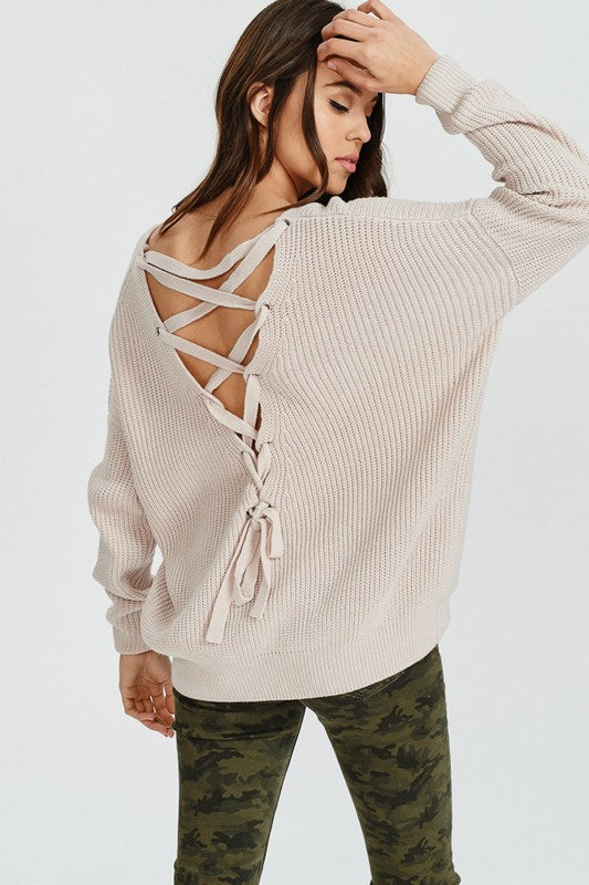 Taupe Long Sweater Lace Up Back Sweater