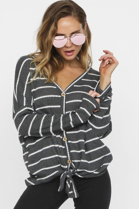 Grey Striped Thermal Tie front Top