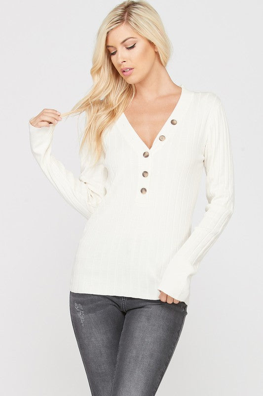 Cream Ribbed Button Up Sweater