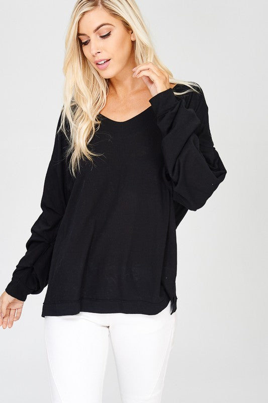 Oversized Cinched Sleeve Top