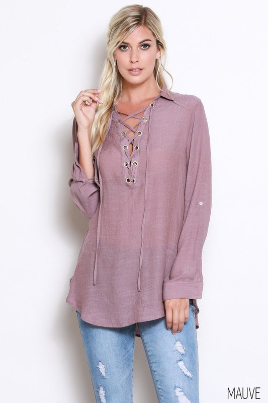 Long Sleeve Lace Up Blouse