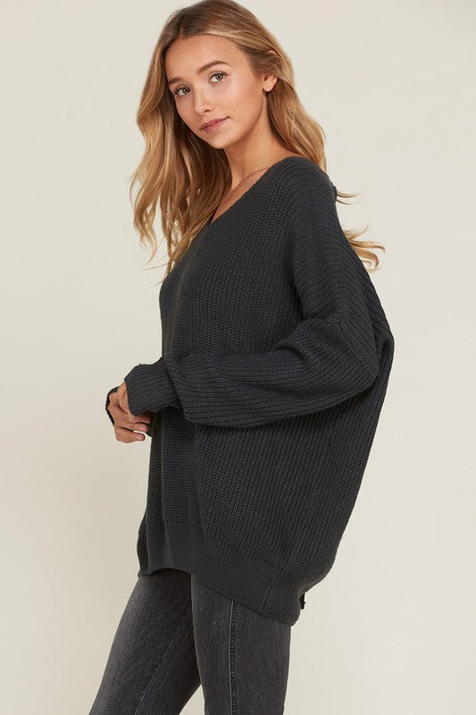 Long Sweater Lace Up Back Sweater