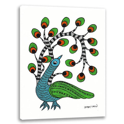 Bird with new feathers - Gond Art