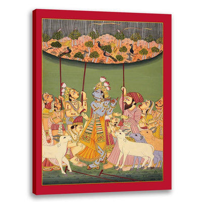 Govardhan Mountain and Krishna - Classical Indian Art