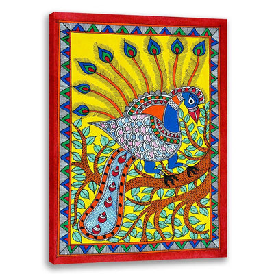 Colorful Peacock - Madhubani Art