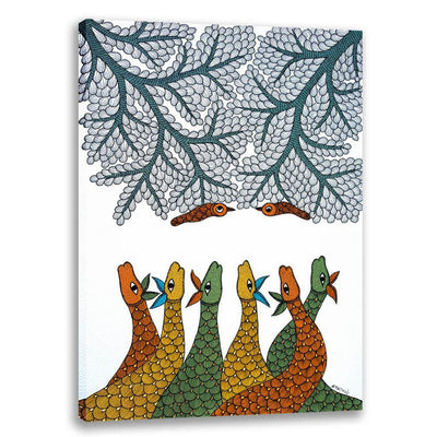 Deers and Birds - Gond Art