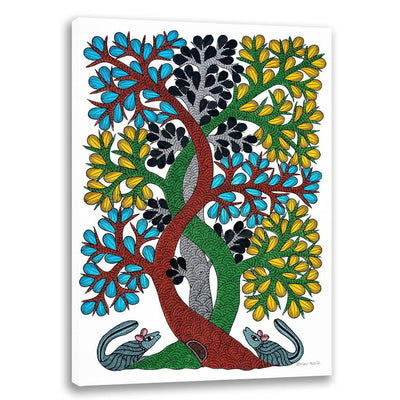 Curved Trees - Gond Art