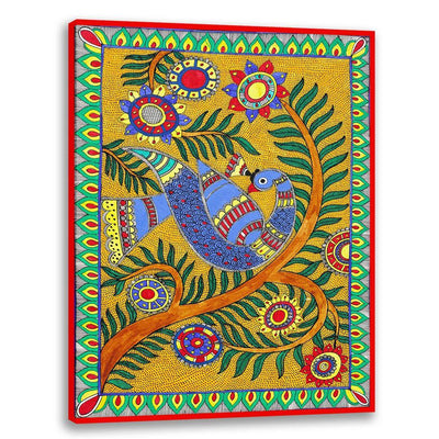 Bird on Tree - Madhubani Art