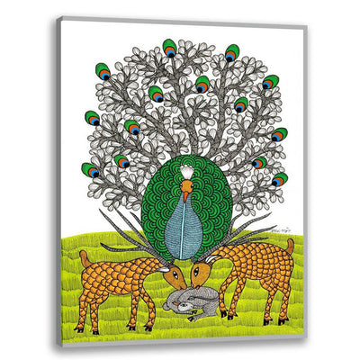 Peacock and Deer - Gond Art