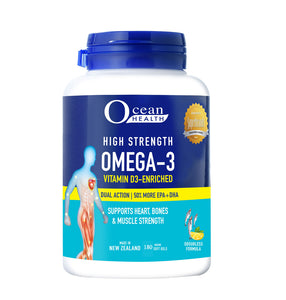 """OCEAN HEALTH"" HIGH STRENGTH OMEGA-3 VITAMIN D3-ENRICHED 180s"