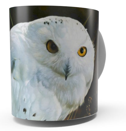 """AMBER GAZE"" SNOWY OWL COFFEE MUG-Art by Carl Brenders"
