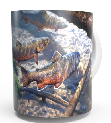 BROOKIES -TROUT COFFEE MUGS-Art by Greg Alexander
