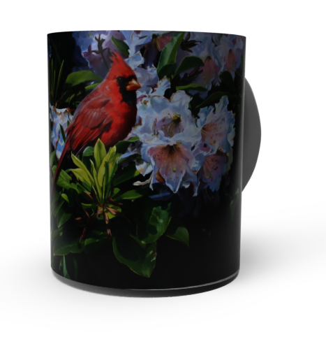 """CARDINALS & RHODODENDRONS  "" CARDINAL COFFEE MUGS-Art by John Mullane"
