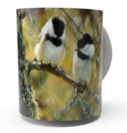 IN THE BLACK -CHICKADEE COFFEE MUG-Art by Carl Brenders