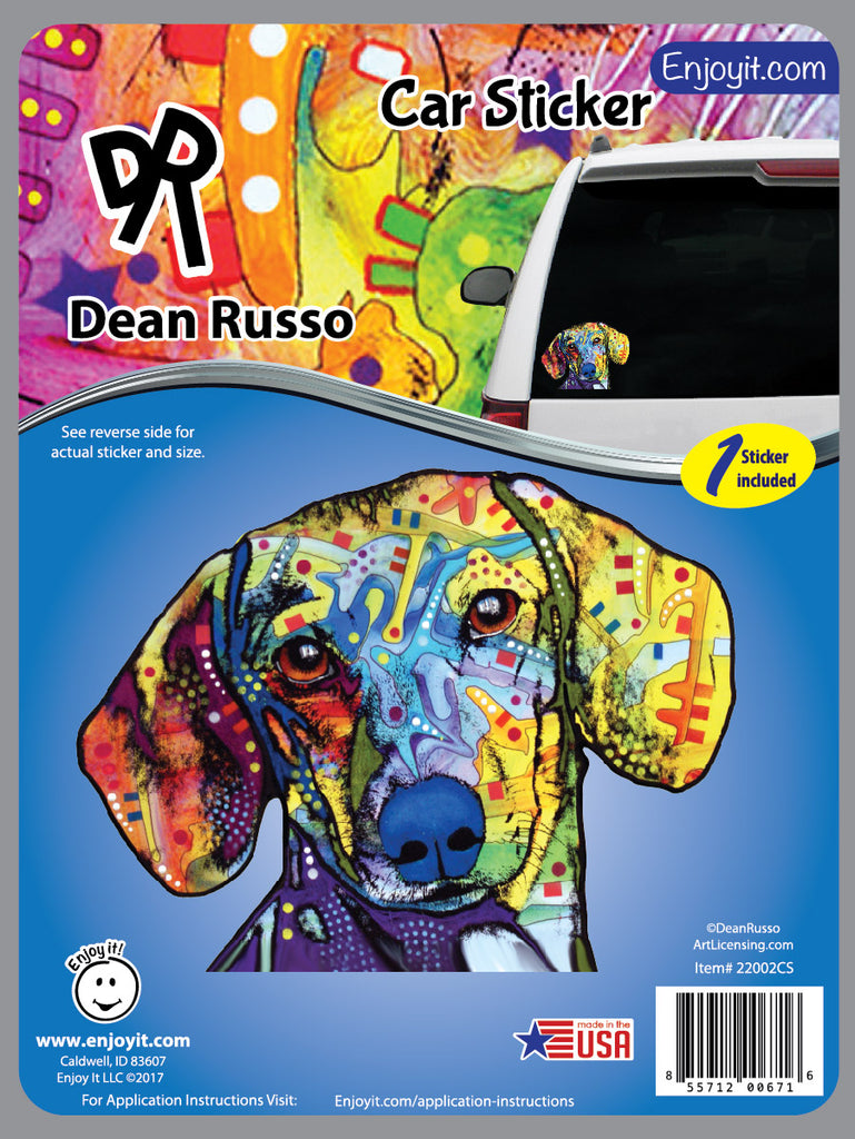 Daschund Car Decal by Dean Russo