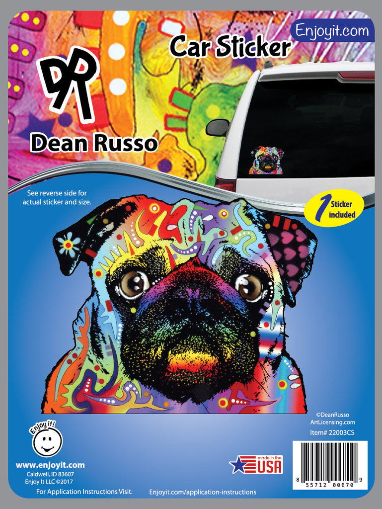 Pug Car Decal by Dean Russo