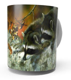 """ DOUBLE TROUBLE "" RACCOON COFFEE MUG-Art by Carl Brenders"