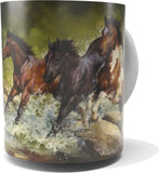 """LEAPS & BOUNDS""-HORSE COFFEE MUG-Art by Bonnie Marris"