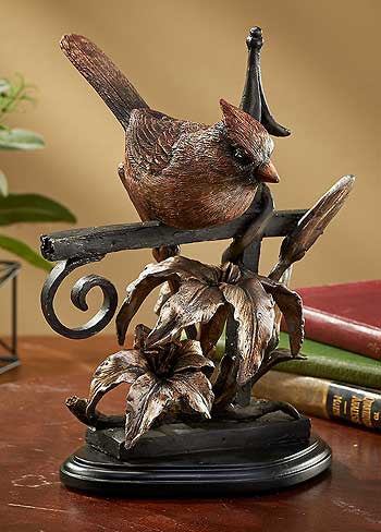 Cardinal Sculpture Bronze Patina