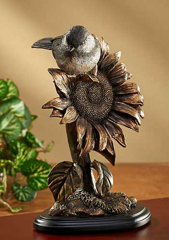 Chickadee Bronze Patina Sculpture