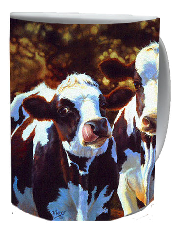 """ DAIRY QUEENS ""- COW COFFEE MUGS-Art by Bonnie Marris"