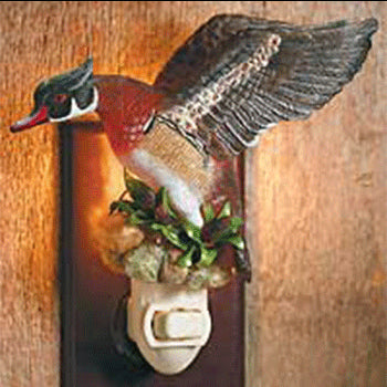 flying wood duck night light