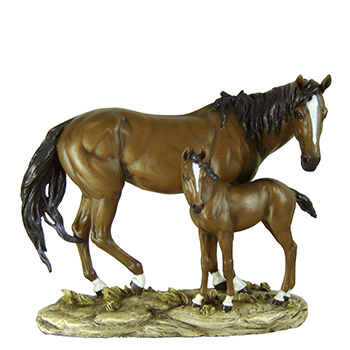 Bay Horse & Colt Sculpture