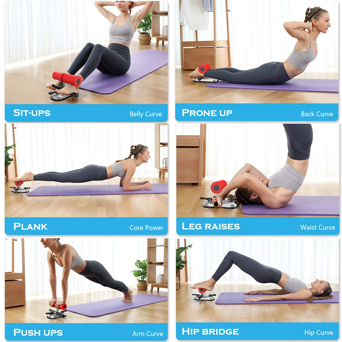 Multifunction Sit Up Bar,Portable Sit Up Assistant Equipment,Upgraded 2 Suction Cups and 4 Adjustable Positions,Household Fitness Exercise Device for Muscle Training Body Building Home Work Travel