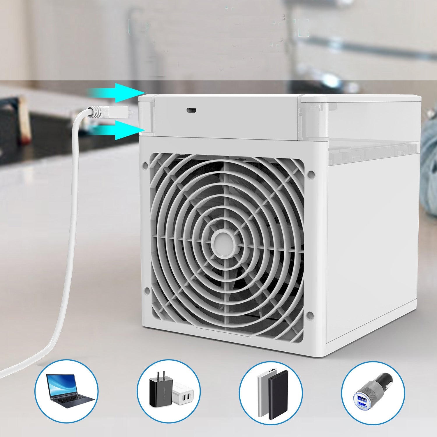 Powerful Cooling Portable Ac NexFan RPG Light Cooler Cooling Humidification Purify Room Aaromatherapy 4 In 1, USB Charging  Easy To Clean Built-in Filter Noise Reduction Portable Cooler