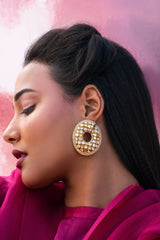 Checkered Golden Hoops