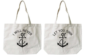 Women's Best Friend Anchor Matching BFF Natural Canvas Tote Bag for Friend - 365INLOVE