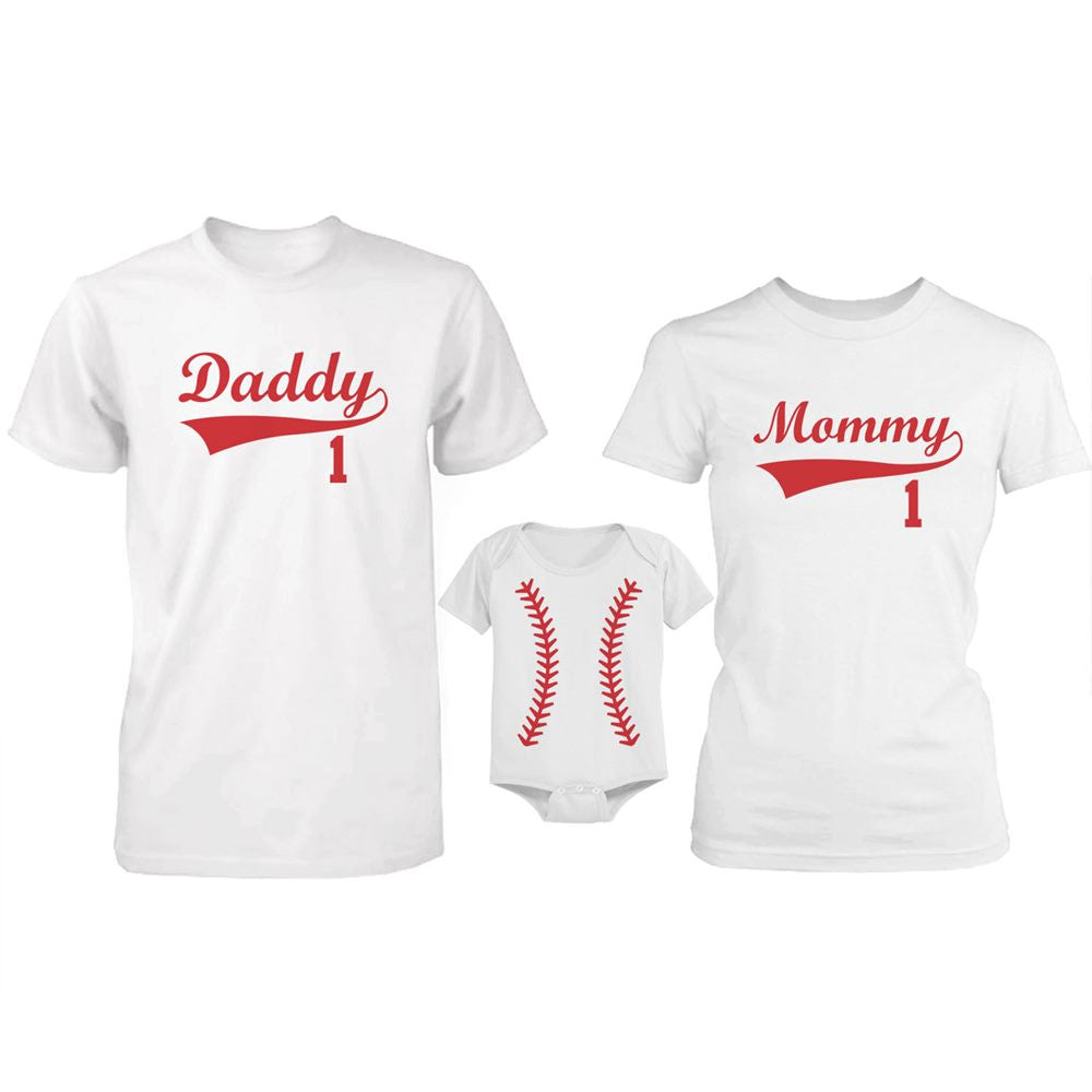 Daddy Mommy And Baby Matching Baseball Family T Shirt Onesie Sold