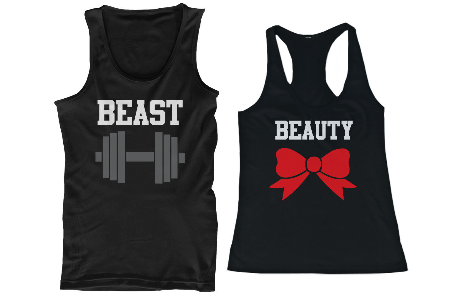 9b8c5c7589936a workout couple shirts for fitness and gym. Beauty Beast Couple Tank Tops ...