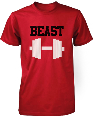 86c4c53a91 Beauty and Beast Red Matching Couple Workout Shirts - 365 IN LOVE - Matching  Gifts Ideas
