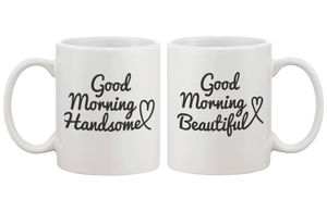 His and Her Mugs Wedding and Bridal Shower Gifts - Good Morning Beautiful & Handsome